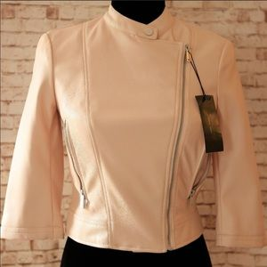 NWT Zara blush cropped faux leather jacket